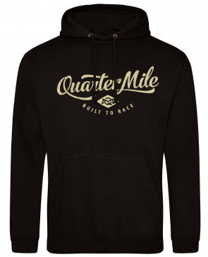 Quarter Mile Classic Logo Mens Gents Black Hoodie