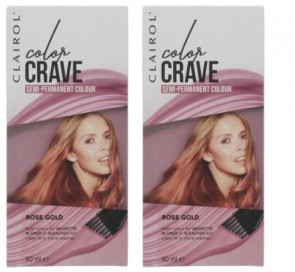 Clairol Ladies Womens Color Crave 60ml Hair Colour Rose Gold 2 Pack