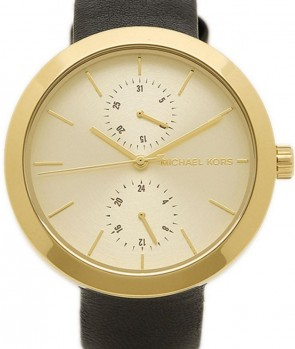 Michael Kors Thin Runway Ladies Watch Gold Dial Dark Pink Strap MK2298