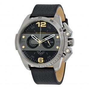 Diesel Mens Oversize Ironside Chronograph Watch Black Leather Strap DZ4386