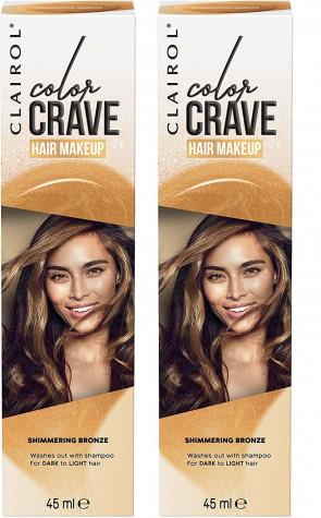 Clairol Ladies Womens Colour Crave Non Permanent Hair Makeup Bronze 45 ml 2 Pack