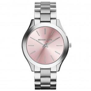Michael Kors Womens Ladies Pink Face Slim Silver Runway Watch MK3380