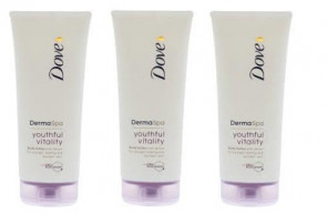 Dove Ladies Womens Derma Spa 200ML Body Lotion Youthful Vitality 3 PACK