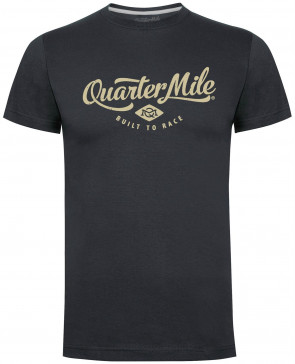 Quarter Mile Classic Logo Mens Gents Charcoal T-Shirt