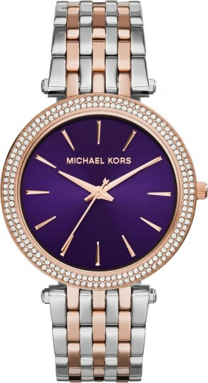 Michael Kors Darci Ladies Watch Two Tone Bracelet Purple Dial MK3353