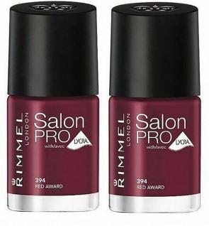 Rimmel Ladies Womens London Salon Pro Nail Varnish Polish Red Award 394 2 Pack