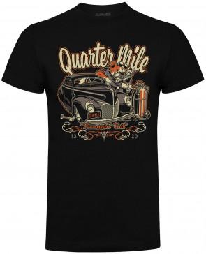 Quarter Mile Draggin Tail Mens Gents Black T-Shirt