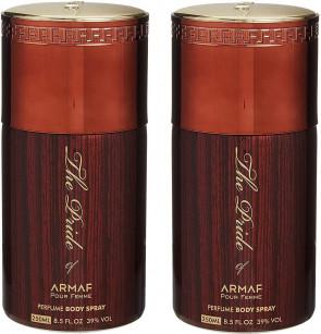 ARMAF Mens Gents The Pride Of Armaf Maroon Body Spray 250ml 2 Pack