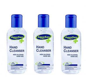 Malibu Aquasan Anti Bacterial Hand Cleanser Sanitiser 100ml Alcohol Gel 3 Pack