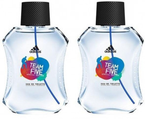 Adidas Mens Gents Team Five Special Edition 100ml EDT Aftershave Cologne Fragrance 2 PACK