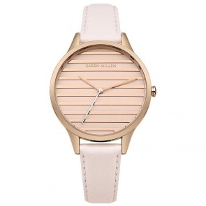 Karen Millen Womens Ladies Watch Rose Gold Strap White Face KM161C