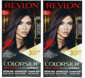 Revlon Ladies Womens Luxurious Colorsilk Buttercream Vivid Colour Violet Black 2 PACK