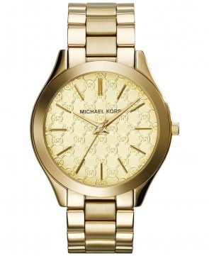 Michael Kors Ladies Slim Runway Watch Gold Bracelet Gold Dial MK3335