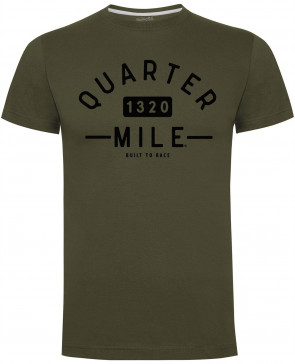 Quarter Mile QM College Military Green Mens Gents T-Shirt