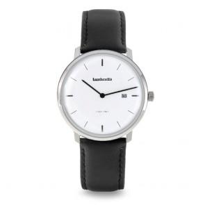Lambretta Volta 39 Leather Silver White Black Mens Gents Wrist Watch 2240SIL