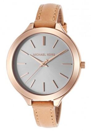 Michael Kors Ladies Runway Watch Rose Gold Brown Strap MK2284