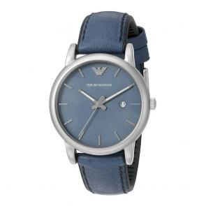 Emporio Armani Mens Wrist Watch Blue Leather Strap Dial AR1972
