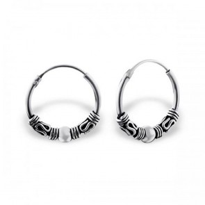 Maxbelle Ladies Womens Bali 925 Sterling Silver Bali Hoop Earrings