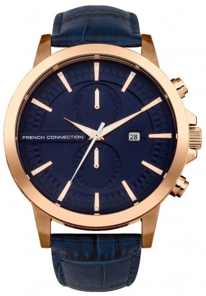 French Connection Mens Gents Wrist Watch Blue Face Strap FC1270URGA