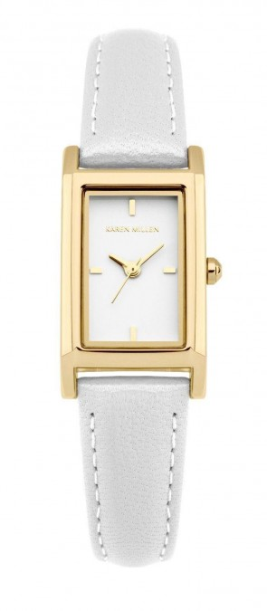 Karen Millen Ladies Womens Wrist Watch White Strap Square Face KM114WG