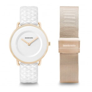 Lambretta Ladies Womens Mia 34 Quilted/Mesh Rose Gold White Duo-set Wrist Watch 2259DUO1