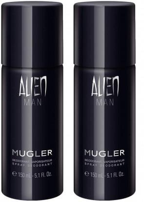 Mugler Mens Gents Alien Man Deodorant Body Spray 150ml 2 Pack