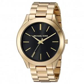 Michael Kors Ladies Slim Runway Watch Gold Bracelet Black Dial MK3478