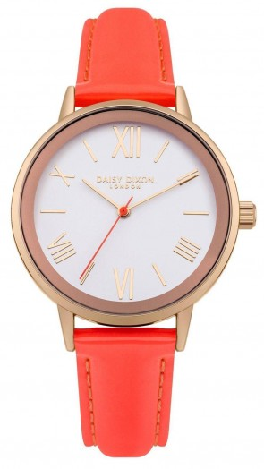 Daisy Dixon Kourtney Wrist Watch Orange Strap White Face DD046ORG
