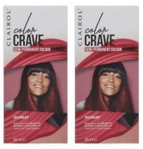 Clairol Ladies Womens Color Crave 60ml Hair Colour Scarlet 2 Pack