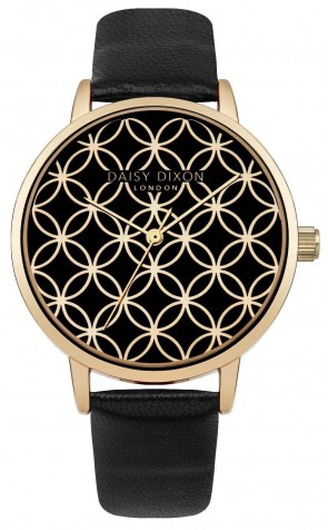 Daisy Dixon Ladies Penny Wrist Watch Gold Dial Black Strap DD034BG