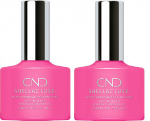 CND SHELLAC LUXE Ladies Womens Nail Polish Varnish Hot Pop Pink 2 Pack