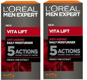 L'Oreal Gents Men Expert Vita Lift 5 Moisturiser 50ml 2 Pack