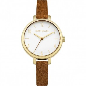 Karen Millen Womens Ladies Wrist Watch Brown Strap White Face KM138TG