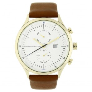 French Connection Mens Gents Wrist Watch White Face Brown Leather Strap FC1266TGU