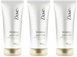 Dove Ladies Womens Derma Spa 200ml Body Lotion Goodness 3 PACK