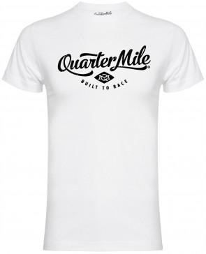 Quarter Mile QM Classic Logo Mens Gents White T-Shirt