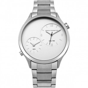 French Connection Gents Mens Wrist Watch Silver Strap Face FC1284SM