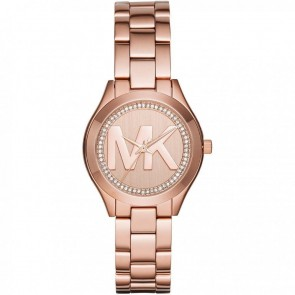 Michael Kors Ladies Slim Runway Wrist Watch Rose Gold Face Dial MK3549