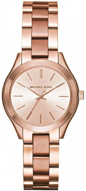Michael Kors Ladies Slim Runway Watch Rose Gold PVD Stainless Steel Case Rose Gold Dial MK3513