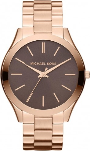 Michael Kors Slim Runway Ladies Watch Rose Gold Bracelet Brown Dial MK3181