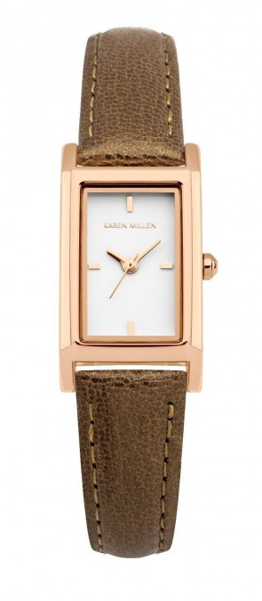 Karen Millen Ladies Wrist Watch Gold Dial Brown Leather Strap KM114TRG