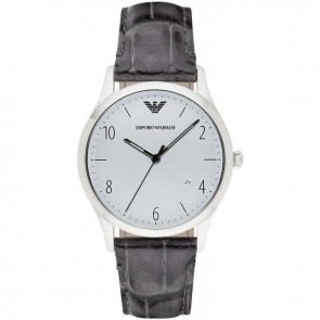 Emporio Armani Mens Gents Watch Grey Leather Strap Silver Dial AR1880