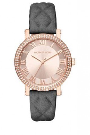 Michael Kors Ladies Norie Rose Gold Watch Black Quilted Leather Rose Gold Dial MK2619