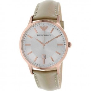Emporio Armani Mens Rose Gold PVD Stainless Steel Beige Leather Strap Silver Dial AR2464