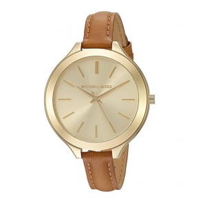 Michael Kors Runway Ladies Watch Brown Leather Champagne Dial MK2606