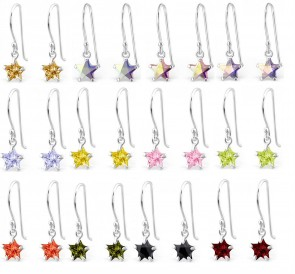 Maxbelle 925 Sterling Silver Nickel Free Cubic Zirconia Star Earrings