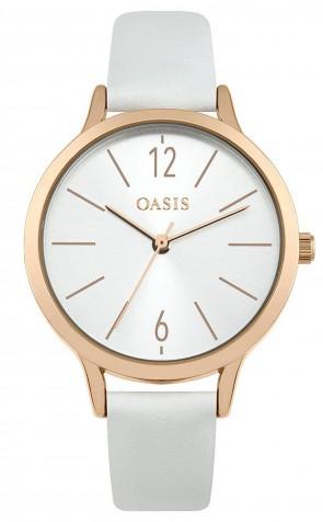Oasis Womens Ladies Wrist Watch Silver Face White Strap  SB009W