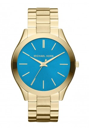 Michael Kors Ladies Watch Gold Steel Bracelet Blue Dial Watch MK3265