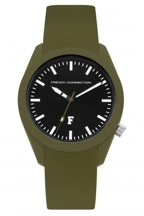 French Connection Womens Ladies Watch Black Dial Green Silicone Strap FC1297N