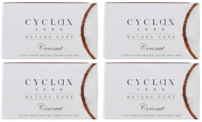 Cyclax Mens Womens 90G Coconut Soap 4 Pack